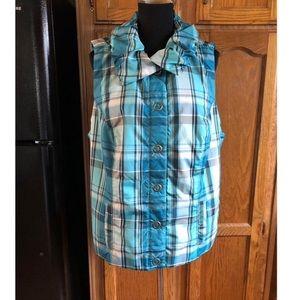 CJ Banks Plaid Outerwear Vest Size 1X